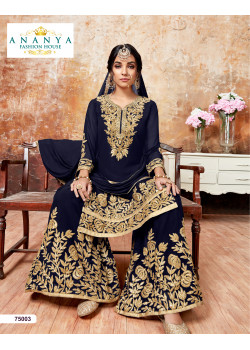 Trendy Dark Blue Faux Georgette Salwar kameez