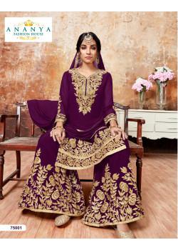 Flamboyant Violet Faux Georgette Salwar kameez