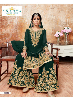 Luscious Bottle Green Faux Georgette Salwar kameez