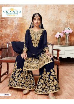 Trendy Dark Blue Faux Georgette Salwar kameez