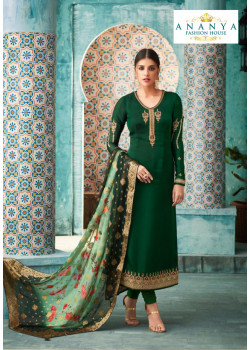 Dazzling Bottle Green Satin Georgette Salwar kameez