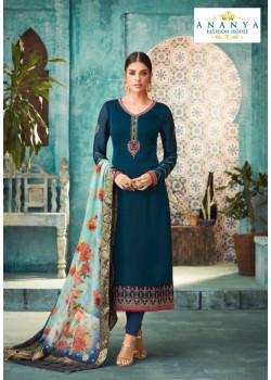 Divine  Blue Satin Georgette Salwar kameez
