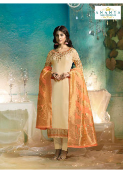 Luscious Off White Satin Georgette Salwar kameez
