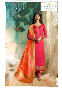 Classic Pink Satin Georgette Salwar kameez