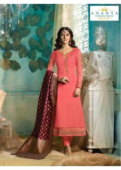 Incredible Pink Satin Georgette Salwar kameez