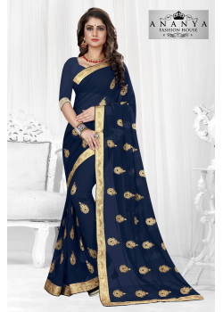 Enigmatic Dark Blue Georgette Saree with Dark Blue Blouse