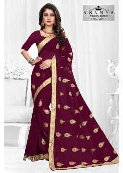 Melodic Purple Georgette Saree with Purple Blouse