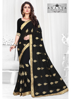 Adorable Black Georgette Saree with Black Blouse