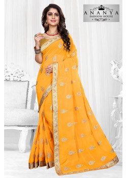 Flamboyant Yellow Georgette Saree with Yellow Blouse