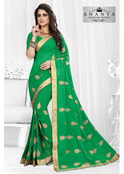 Luscious Green Georgette Saree with Green Blouse
