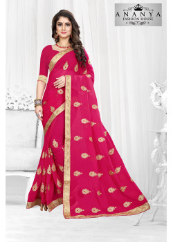 Charming Magenta Georgette Saree with Magenta Blouse