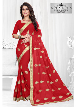 Classic Red Georgette Saree with Red Blouse