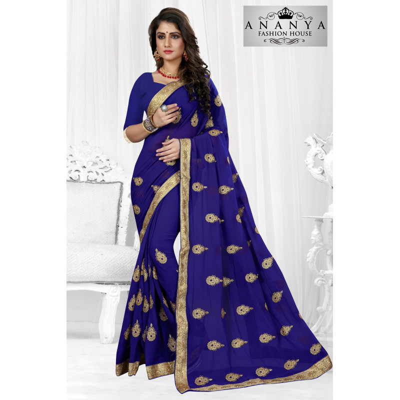 Melodic Blue Georgette Saree with Blue Blouse