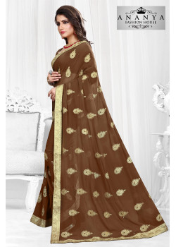 Trendy Brown Georgette Saree with Brown Blouse