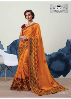 Divine Mustard Georgette Saree with Maroon Blouse
