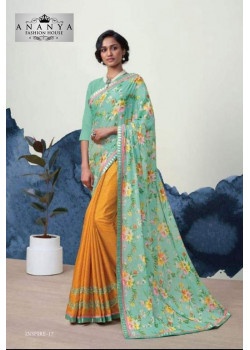 Melodic Pastel Blue- Mustard Georgette Saree with Pastel Blue Blouse