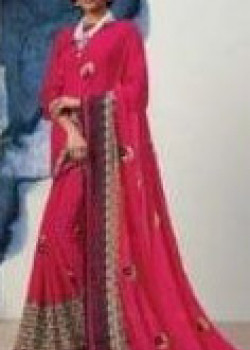 Adorable Magenta Georgette Saree with Magenta Blouse