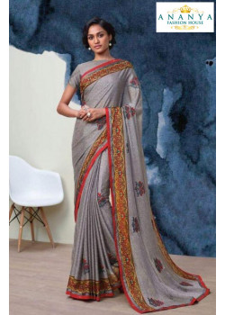 Exotic Grey Georgette Saree with Grey Blouse