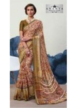Flamboyant Olive Green Georgette Saree with Olive Green Blouse