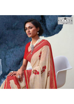 Gorgeous Off White- Red Georgette Saree with Red Blouse