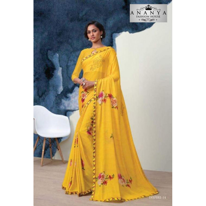 Incredible Yellow Georgette Saree with Yellow Blouse