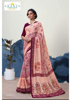 Luscious Light Pink Georgette Saree with Wine Blouse