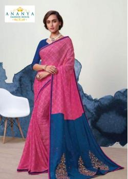 Magnificient Pink- Blue Georgette Saree with Dark Blue Blouse