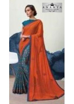 Plushy Orange- Blue Georgette Saree with Blue Blouse