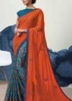 Plushy Orange- Blue Georgette Saree with Blue Blouse