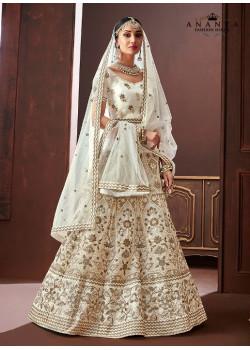 Classic White color Organza Silk Wedding Lehenga