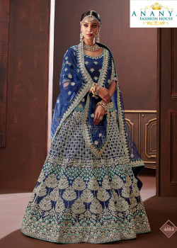 Luscious Dark Blue color Apple Silk Wedding Lehenga