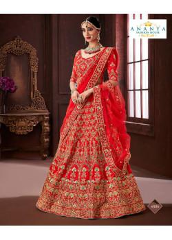 Melodic Red color Soft Silk Wedding Lehenga