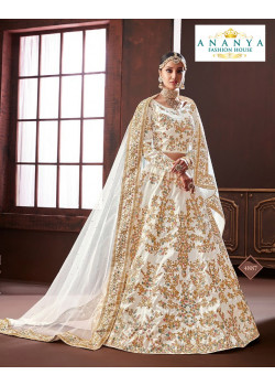 Charming White color Pure Silk Wedding Lehenga