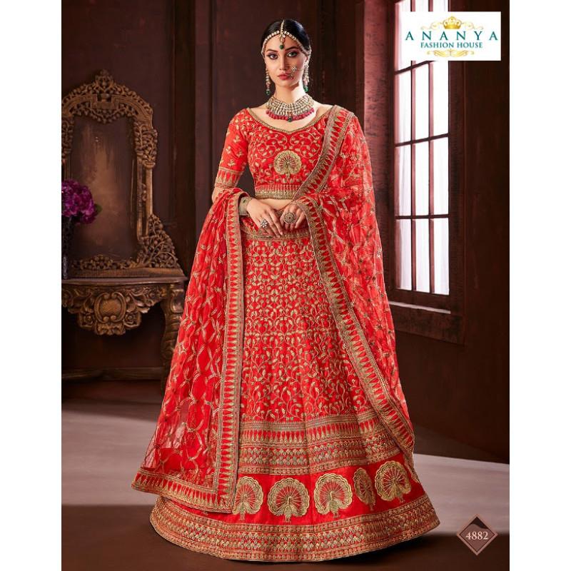 Adorable Red color Soft Silk Wedding Lehenga