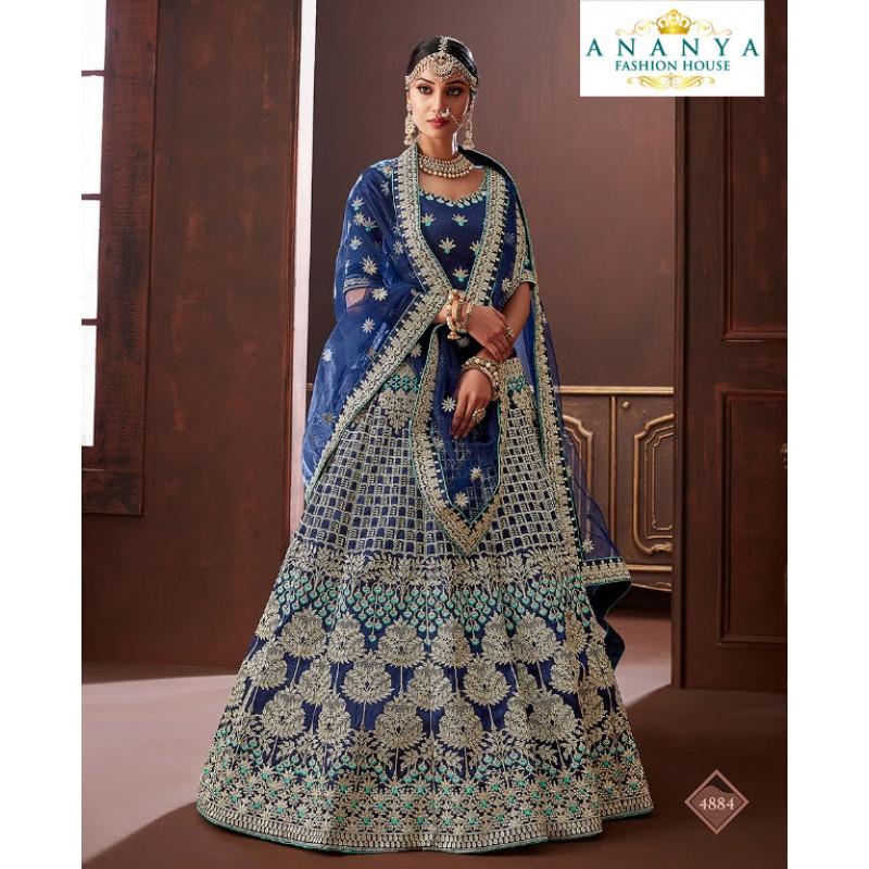 Luscious Dark Blue color Apple Silk Wedding Lehenga