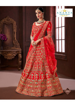 Melodic Red color Soft Silk Wedding Lehenga