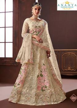 Trendy Off White color Organza Silk Wedding Lehenga