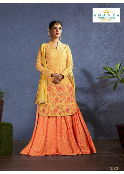Dazzling Orange color Jacquard Designer Lehenga