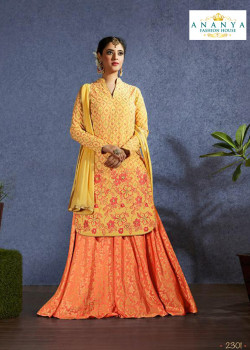 Dazzling Orange color Jacquard Designer Lehenga
