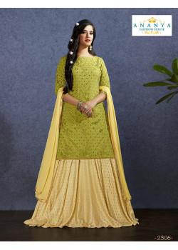 Incredible Beige color Nylon - Jacquard Designer Lehenga