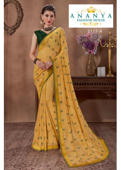 Trendy Yellow Silk Saree with Bottle Green Blouse