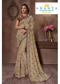 Dazzling Light Brown Silk Saree with Brown Blouse