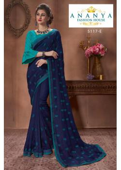 Divine Dark Blue Silk Saree with Light Blue Blouse
