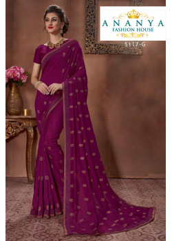 Exotic Purple Silk Saree with Purple Blouse