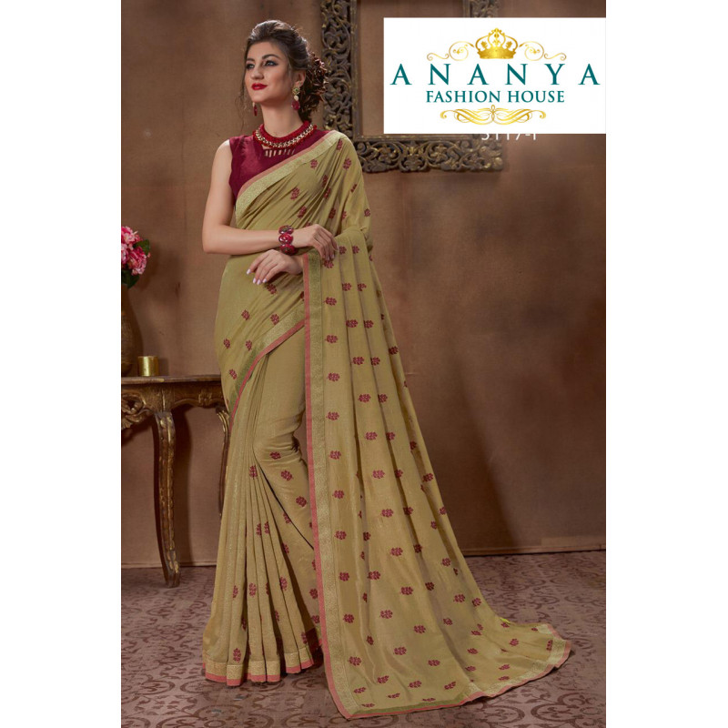 Incredible Light Olive Green Silk Saree with Wine Blouse