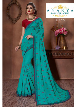 Charming Blue Silk Saree with Maroon Blouse