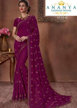 Exotic Purple Silk Saree with Purple Blouse
