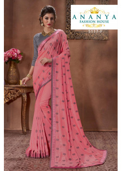 Gorgeous Pink Silk Saree with Grey Blouse