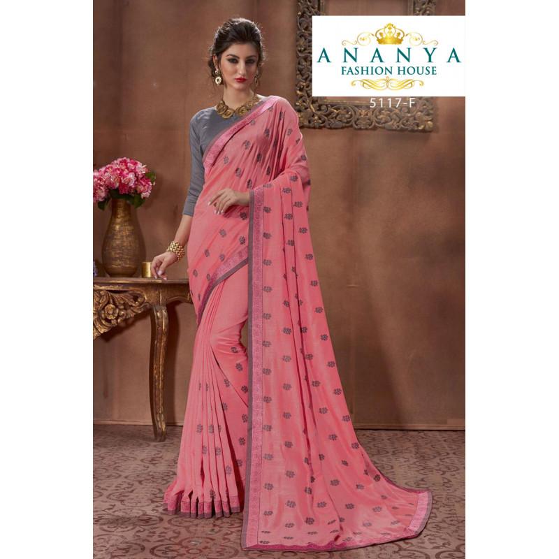 Gorgeous Pink Silk Saree with Grey Blouse