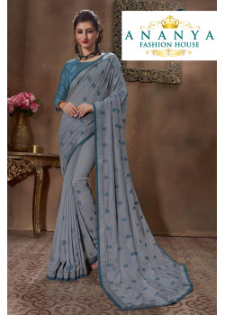 Magnificient Grey Silk Saree with Grey Blouse